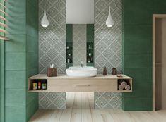Aranżacja łazienki w zielonych odcieniach z drewnianą podłogą w stylu Bali. Wykonana płytkami Tubądzin Touch Green i Korzilius Wood Craft White.    BLU Salony Łazienek blu.com.pl   #bathroom #detalis #tiles #sink #green #łazienka #zieleń #płytki #tubadzin #armatura #detal #dekor Ikea Bathroom, Bathroom Ideas, Grey Tiles, Sweet Home, Sink, Vanity, Home Decor, Touch, Kitchen
