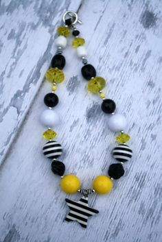 Iowa Hawkeye Steelers Chunky Bubblegum Necklace. $24.00, via Etsy.