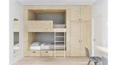 Minimalist interior with plywood. Kids' room. Desiged by INT2architecture © #hay
