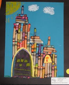 Use up old crayons! Love this to teach architecture. Crayola Castles & Cathedrals.