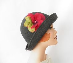 Gray cloche hat with red flower XL Toucan New by TheVintageHatShop