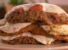 Crispy eggplant and portobello bake - tomato-basil cream sauce with fresh mozzarella