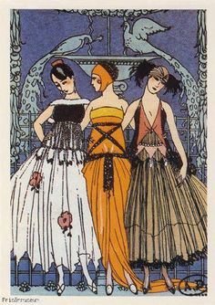 The Three Graces by George Barbier on a postcard, 1920