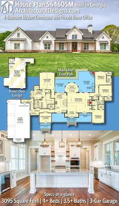 House Plan 56460SM gives you 3,000+ square feet of living space with 4+ bedrooms and 3.5+ baths. AD House Plan #56460SM #adhouseplans #architecturaldesigns #houseplans #homeplans #floorplans #homeplan #floorplan #houseplan Farmhouse Floor Plans, House Blueprints, Sims House, Bedroom Modern, Story House, Modern House Plans, My Dream Home, Square Feet, Future House