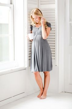 Wake up in our softest nightdress - the grey Willa. It will dress up your bump from those first months of pregnancy. It's our bestseller.