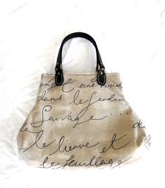 Waverly Pen Pal French Script Handbag Purse. $48.00, via Etsy.