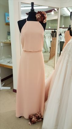 Peach chiffon bridesmaid