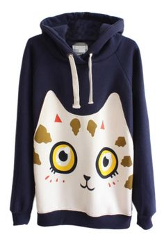 Cat Pattern Long Sleeve Hooded Pullover - Beautifulhalo.com