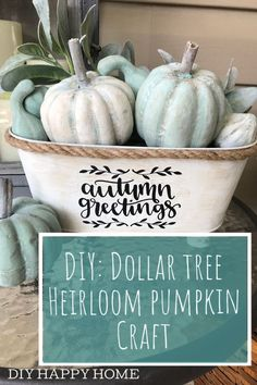 Create a beautiful, unique heirloom pumpkin arrangement for fall using items purchased at The Dollar Tree! Create a beautiful, unique heirloom pumpkin arrangement for fall using items purchased at The Dollar Tree! Dollar Tree Pumpkins, Dollar Tree Fall, Dollar Tree Decor, Dollar Tree Crafts, Dollar Dollar, Dollar Tree Christmas, Dollar Stores, Pumpkin Arrangements, Pumpkin Crafts