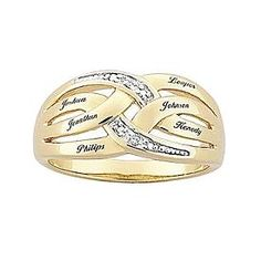 Mother's Diamond Accent Two-Tone Name Ring
