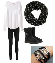 Cute outfits for teens. Ugg boots, black Ugg boots match with a cute cross patterned scarf. Cute infinity, love, anchor, and owl bracelets. Black leggings. I personally love how to boots and bracelets go so well together with the scarf (:  fashionuggboots.jp.pn     WOW! love love love. I think you will like it .credit card accept. Share with you…ahah ugg boots for this winter