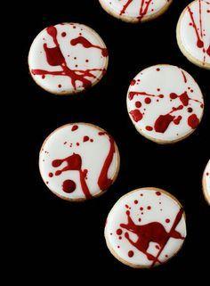"""Dexter"" cookies - - Blood splatter cookies, a simple idea you don't see very often! #halloween #cookies #treat"