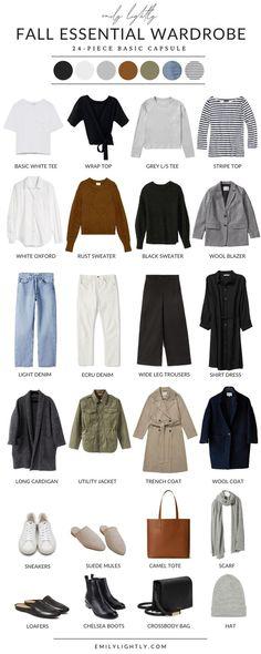 Capsule Wardrobe Essentials, Fall Capsule Wardrobe, Capsule Outfits, Fashion Capsule, Minimalist Wardrobe Essentials, Outfit Essentials, Wardrobe Basics, Basic Outfits, Casual Fall Outfits