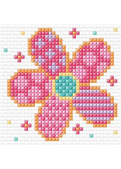 Funky flower cross stitch, from Anchor/Coats. Cross Stitch Tree, Simple Cross Stitch, Cross Stitch Baby, Cross Stitch Flowers, Cross Stitch Charts, Cross Stitching, Cross Stitch Embroidery, Embroidery Patterns, Easy Cross Stitch Patterns