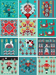 12 Days of Christmas Folk style art print by natalieasingh on Etsy, $16.00