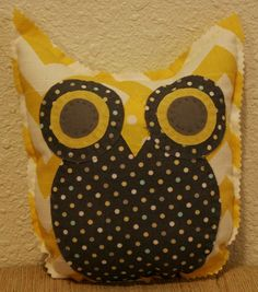 Zig Zag Owl Friend by makemorefriends on Etsy, $20.00    things i love: polka dots, chevron, grey and yellow, owls. check.