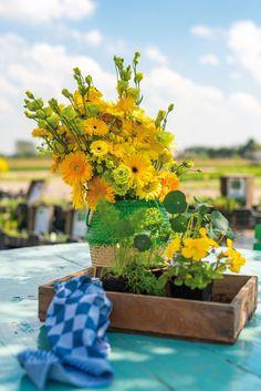 Colourful gerbera bouquet on a blue table #orangegerberas #yellowgerberas #inspiration #colouredbygerbera #dutchgerbera