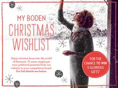 Pin 10 or more items from our website to your wishlist board, including the contest pin & any other Christmas pins. The prize is five items* from our range. Rules: You must follow Boden on Pinterest, Pins must include #bodenxmaswishlist, Boards will be judged on adhering to the terms & the festive nature of extra pins. Confirm your entry with a comment on our contest pin & a link to your board. For full terms and conditions please click on the pin image.