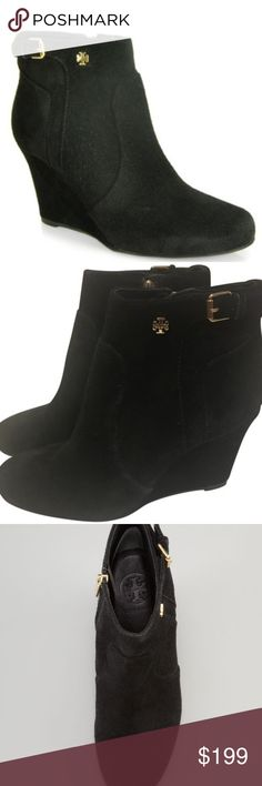 """Tory Burch Milan Suede Wedge Booties This item is a TOP PICK of Emily Jackson, the July Users' Choice Winner of the Vanity Fair International Best-Dressed Challenge. """"These booties are a must-have for Fall with their black suede and gold detail.""""  The Tory Burch Milan bootie updates an essential Fall style with signature hardware and contoured wedge heel. Suede with tonal top stitching. Golden hardware. 3"""" covered wedge heel. 4"""" ankle-high  Excellent condition. Tory Burch Shoes Ankle Boots…"""