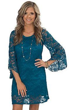 Jody Women's Blueberry Lace 3/4 Bell Sleeve Dress