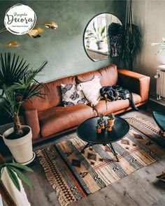 20 Top Design Ideas For A Small Living Room. 20 Top Design Ideas For A Small Living Room. A living room is the most essential part of a household. It depicts the personalities of the people staying in […] Boho Living Room, Interior Design Living Room, Home And Living, Earthy Living Room, Living Room Decor Green, Brown And Green Living Room, Living Room With Plants, Small Living Room Designs, Living Room Wall Ideas