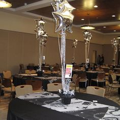 the Broadway Bat Mitzvah ready to go - loved these centerpieces with the mylar balloons! Star Centerpieces, Balloon Decorations, Farewell Decorations, Banquet Decorations, Centrepieces, Broadway Theme, Broadway Wedding, Night To Shine, Mylar Balloons