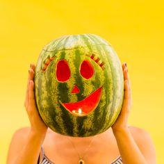 Love this creative watermelon carving idea instead of a pumpkin for Halloween.