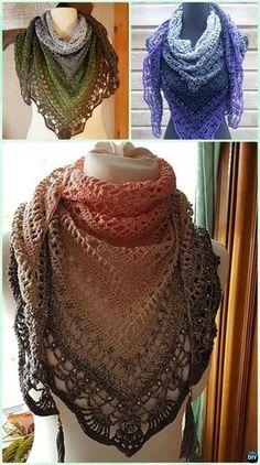 Crochet Popcorn Stitch Lace Triangle Shawl Free Pattern - #Crochet Women Shawl Sweater Outwear Free Patterns