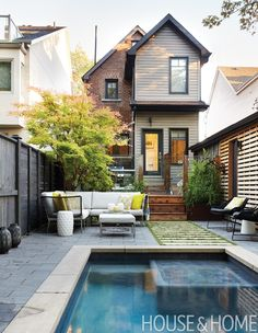 I'm always amazed at how much people enjoy small pools. But I'd say that if a garden is smaller than 16′ by 16′ you're probably going to start eating up valuable real estate that could be used for patios and plantings. | Designer: Joel Loblaw Inc. Photographer: Virginia Macdonald