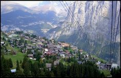 "Mürren, Switzerland, an ""eyrie, (car-free)...village set on an elevated shelf (5,413 ft. high) of pasture which has managed to retain its endearing desert-island atmosphere (in the off season at least)."" Cable cars ferry passengers to Mürren and ""uphill to the  summit of the  Schilthorn and the revolving restaurant,...the principal filming location for the James Bond movie ""On Her Majesty's Secret Service"" (1969)."" ~ ~ Visit the Most Beautiful Villages in Europe"