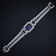 Magnificent Art Deco Royal-blue 'Sugarloaf' Sapphire and Diamond Bracelet, ca. 1930s