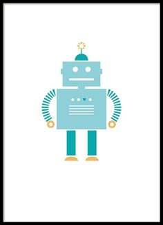 Kids poster of a blue robot for the kids room...