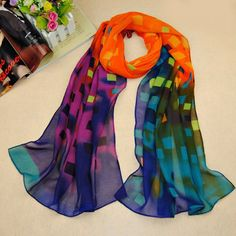 Chic Small Checked Pattern Multicolor Chiffon Scarf For Women
