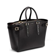Marylebone Tote in Black Pebble & Smooth Black from Aspinal of London. holy handbag. if anyone ever wants me to be indebted to them for... forever... buy this bag for me. perfect for lawyer life :)