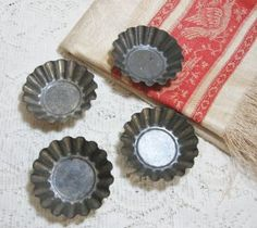Antique Small Fluted Tart Tins Make nice Kitchen Accessories & more.  $7.50 SOLD