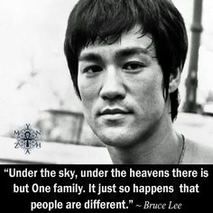 """""""Under the sky, under the heavens there is but One family. It just so happens that people are different."""" ~ Bruce Lee"""