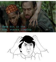 "The 33 Most Frustrating Things About ""The Walking Dead""- still LOVE the show Walking Dead Funny, Walking Dead Zombies, Fear The Walking Dead, Dead Pictures, Funny Pictures, Funny Pics, Twd Memes, Funny Memes, That's Hilarious"