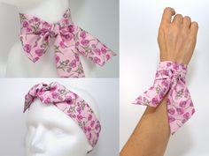 3 en 1 Twilly Liberty: Bandeau à Cheveux, Bracelet, Foulard - Headband, Rose Fuchsia pale clair fleuri fleurs : Accessoires coiffure par polina-couture