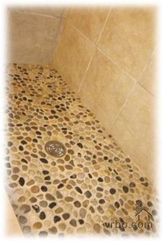 Master bath shower floor and wall tile.