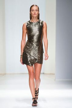 Salvatore Ferragamo Spring 2013 The most glam moments came thanks to bronze sequined dresses with asymmetric panels
