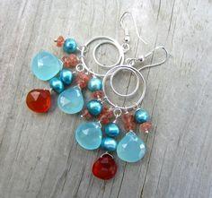 Gemstone Dangle Earrings Chalcedony Sunstone by LeanneDesigns, $32.50