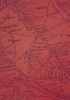 Traveller Wallpaper Large design wallpaper with map design in charcoal on red.
