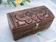 Jewelry box Wooden box Ring box Carved wood box by HappyFlying. $35.00, via Etsy.