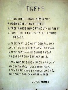 Trees...    I think that I shall never see   A poem lovely as a tree...    ...A tree that looks at God all day,          And lifts her leafy arms to pray...    Joyce Kilmer