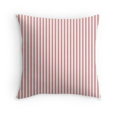 'Mattress Ticking Narrow Striped Pattern in Dark Black and White' Throw Pillow by podartist Bed In Living Room, White Throw Pillows, Wide Stripes, Ticks, Mattress, Pillow Covers, Red And White, Pattern, Sofa