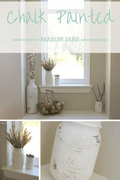 Chalk Painted Mason Jars :: making it in the mountains #chalkpaint #masonjars…