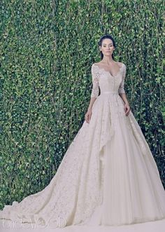 A Line and Long Sleeves - With Sleeves wedding dress Wedding Dress 2221