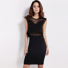 Female Hot Sale Vintage Style Sexy Women Dresses Sleeveless Black Round Neck Bodycon Ladies Midi Dress Tulle Patchwork HD1556 ** Visit the image link more details.