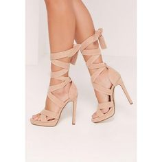 Missguided Wrap Around Strap Platform Heels ($54) ❤ liked on Polyvore featuring shoes, pumps, nude, faux suede shoes, high heel platform shoes, wrap shoes, nude pumps and high heel pumps