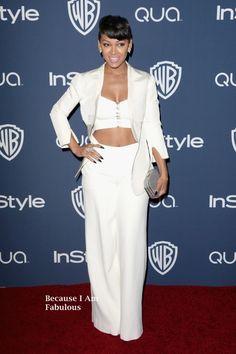 Meagan Good Wearing Pamella Roland - InStyle & Warner Bros. 2014 Golden Globes Party 2